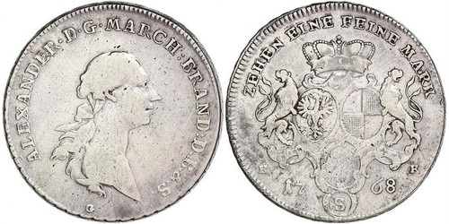 1 Thaler Principality of Ansbach (1398–1792) Silver Charles Alexander, Margrave of Brandenburg-Ansbach (1736 – 1806)