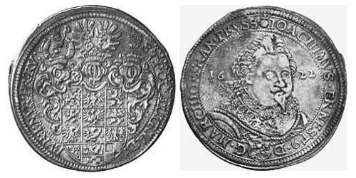 1 Thaler Principality of Ansbach (1398–1792) Silver Joachim Ernst, Margrave of Brandenburg-Ansbach (1583 – 1625)
