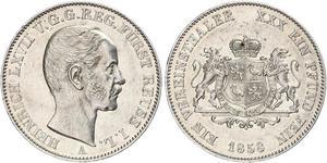 1 Thaler Principality of Reuss-Greiz (1778 - 1918) Silver Heinrich LXVII, Prince Reuss Younger Line