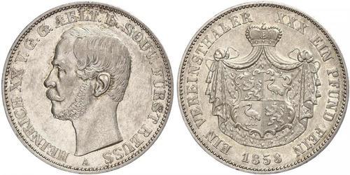 1 Thaler Principality of Reuss-Greiz (1778 - 1918) Silver Heinrich XX, Prince Reuss of Greiz