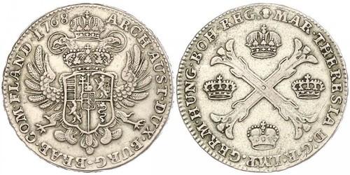 1 Thaler / 1 Krone Austrian Netherlands (1713-1795) 銀 玛丽亚·特蕾西亚 (1717 - 1780)