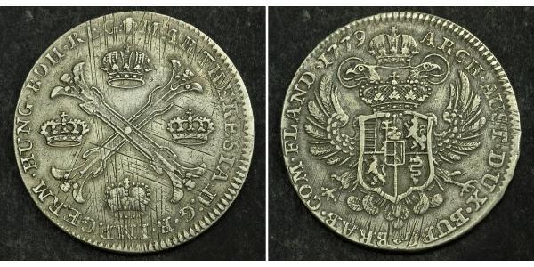 1 Thaler / 1 Krone Paesi Bassi austriaci (1713-1795) Argento Maria Theresa of Austria (1717 - 1780)
