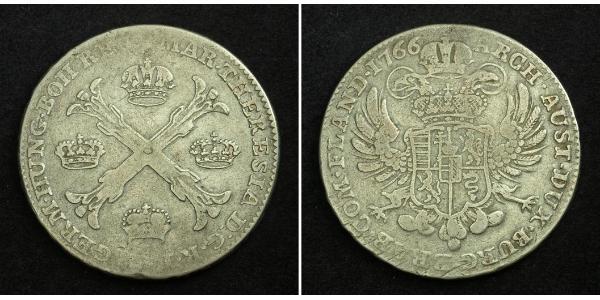 1 Thaler / 1 Krone Países Bajos Austríacos (1713-1795) Plata Maria Theresa of Austria (1717 - 1780)