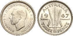 1 Threepence 澳大利亚 銀 乔治六世 (1895-1952)