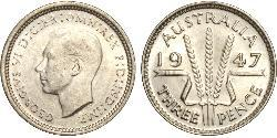 1 Threepence Australia (1939 - ) Argento Giorgio VI (1895-1952)