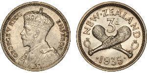 1 Threepence / 3 Penny Nueva Zelanda Plata Jorge V (1865-1936)