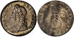 1 Threepence / 3 Penny Königreich Großbritannien (1707-1801) Silber Georg II (1683-1760)