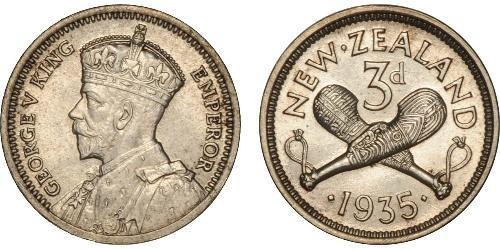1 Threepence / 3 Penny Neuseeland Silber George V (1865-1936)