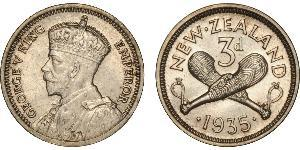 1 Threepence / 3 Penny New Zealand Silver George V of the United Kingdom (1865-1936)