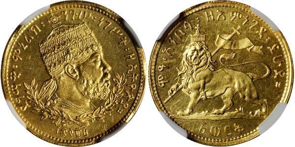 1 Werk Эфиопия Золото Menelik II of Ethiopia ( 1844 -1913)