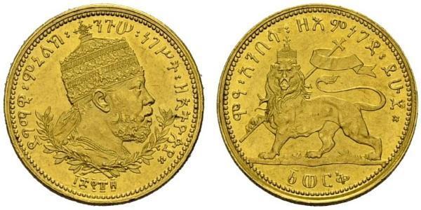 1 Werk Äthiopien Gold Menelik II of Ethiopia ( 1844 -1913)