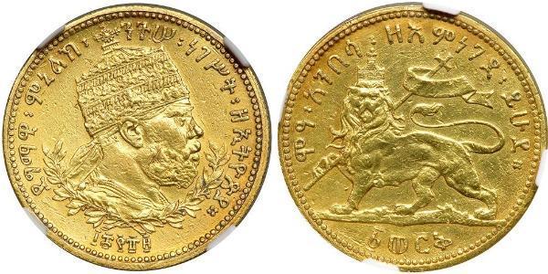 1 Werk Etiopía Oro Menelik II of Ethiopia ( 1844 -1913)