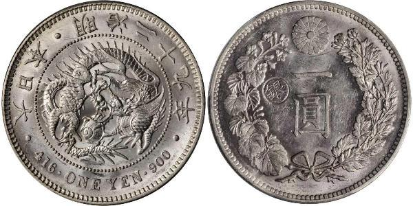 1 Yen Imperio del Japón (1868-1947) Plata Meiji the Great (1852 - 1912)