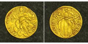 1 Zecchino Estados Pontificios (752-1870) Oro Benedicto XIV (1675- 1758)