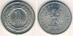 1 Zloty Third Polish Republic (1991 - ) Copper/Nickel