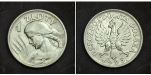 1 Zloty Segunda República Polaca (1918 - 1939) Plata