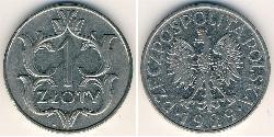 1 Zloty Seconda Repubblica Polacca (1918 - 1939) Rame/Nichel