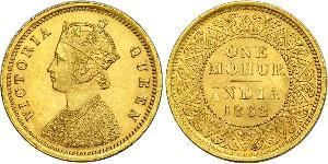 1vet Mohur British Raj (1858-1947) Gold Victoria (1819 - 1901)