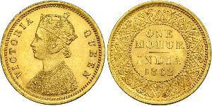 1vet Mohur Raj britannique (1858-1947) Or Victoria (1819 - 1901)