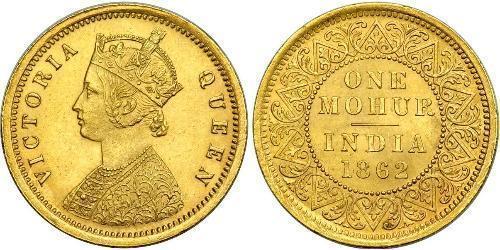 1vet Mohur Raj Britannico (1858-1947) Oro Vittoria (1819 - 1901)