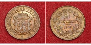 2½ Centime Luxemburgo Cobre Guillermo III de los Países Bajos