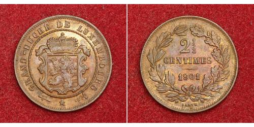 2½ Centime Luxembourg (pays) Cuivre Guillaume III (roi des Pays-Bas)