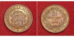 2½ Centime Lussemburgo Rame Guglielmo III dei Paesi Bassi