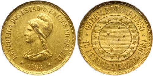 20000 Рейс Бразильська Стара республіка (1889 - 1930) Золото