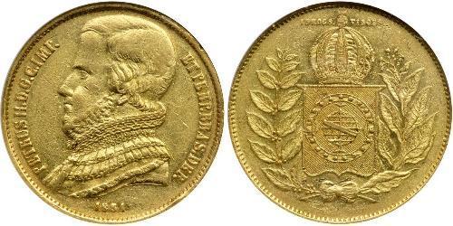 20000 Reis Impero del Brasile (1822-1889) Oro Pietro II del Brasile (1825 - 1891)