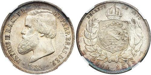 2000 Рейс Бразильская империя (1822-1889) Серебро Педру II (император Бразилии) (1825 - 1891)