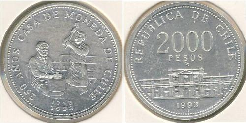 2000 Peso Chile Silber