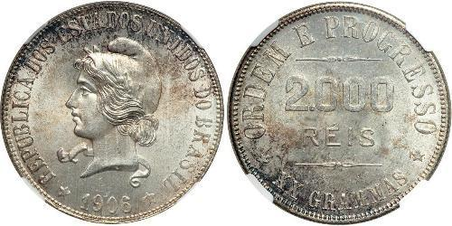 2000 Reis Brasile Argento