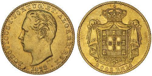 2000 Reis Reino de Portugal (1139-1910) Oro Luis I de Portugal (1838 - 1889)