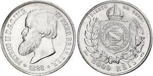 2000 Reis Empire of Brazil (1822-1889) Silver Pedro II of Brazil (1825 - 1891)