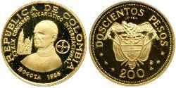 200 Песо Республіка Колумбія (1886 - ) Золото