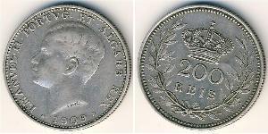 200 Reis 葡萄牙王國 (1139 - 1910) 銀 Manuel II of Portugal (1889-1932)