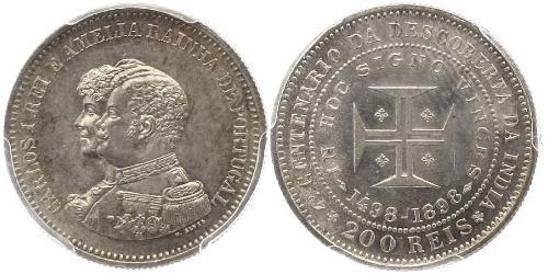 200 Reis 葡萄牙王國 (1139 - 1910) 銀 卡洛斯一世 (葡萄牙)