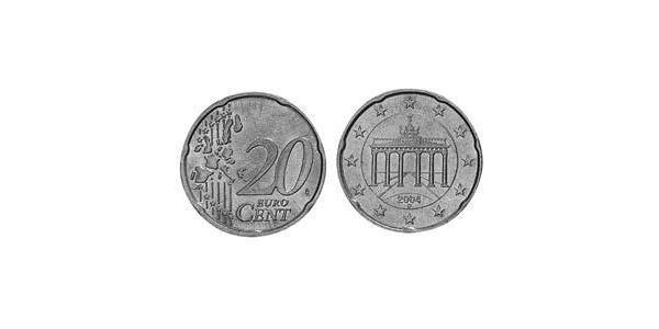 20 Євроцент Федеративна Республіка Німеччина (1990 - ) Латунь