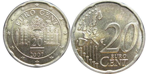 20 Євроцент Австрійська Республіка (1955 - ) Мідь
