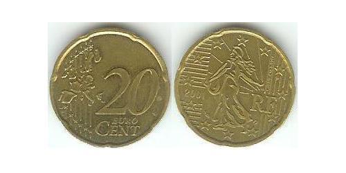 20 Євроцент French Fifth Republic (1958 - ) Цинк/Олово/Мідь/Алюміній