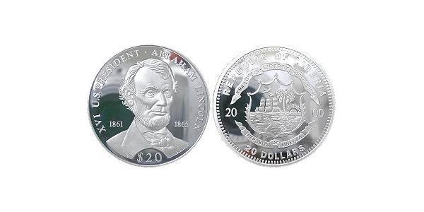 20 Долар Ліберія Срібло Авраам Лінкольн (1809-1865)