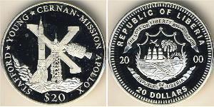 20 Доллар Либерия Серебро