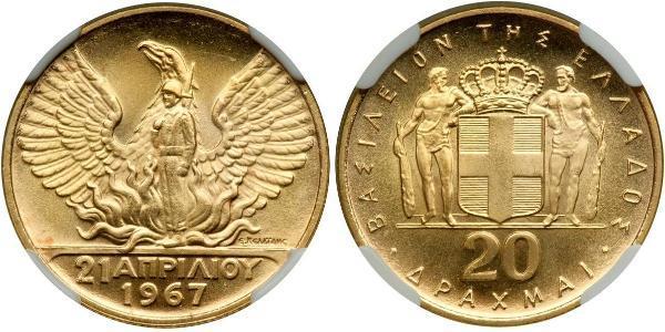 20 Драхма Королевство Греция (1944-1973) Золото