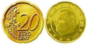 20 Евроцент Бельгия Алюминий/Цинк/Олово/Медь Альберт II король Бельгии