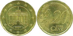 20 Евроцент Федеративная Республика Германия (1990 - ) Алюминий/Цинк/Олово/Медь