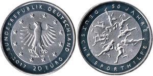 20 Евро Федеративная Республика Германия (1990 - ) Серебро