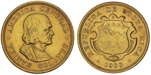 20 Колон Коста-Ріка Золото Христофор Колумб (1451 - 1506)