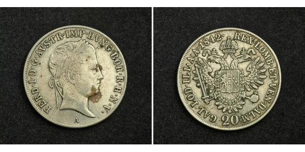 20 Крейцер Австрійська імперія (1804-1867) Срібло Ferdinand I of Austria (1793 - 1875)