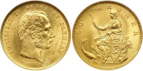 20 Крона Дания Золото Кристиан IX король Дании (1818-1906)