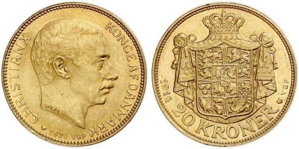 20 Крона Данія Золото Christian X of Denmark (1870 - 1947)
